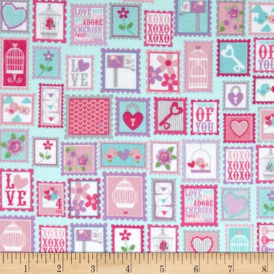 Riley Blake Lovey Dovey Flannel Stamps Purple