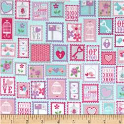 Riley Blake Lovey Dovey Flannel Stamps Purple Fabric