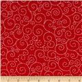 Timeless Treasures Stitch Scroll Red