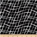 Sketchbook Diagonal Wavy Plaid Black