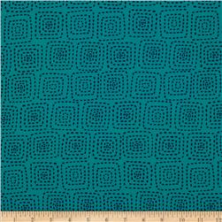 Michael Miller Stitch Square Turquoise Fabric