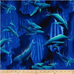 Hoffman Tropicals Paradise Reef Whales Royal Fabric