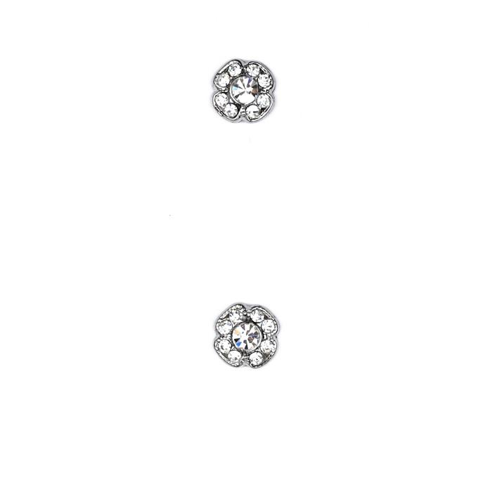 Glass Button 3/8'' Shiny Flower Rhinestone