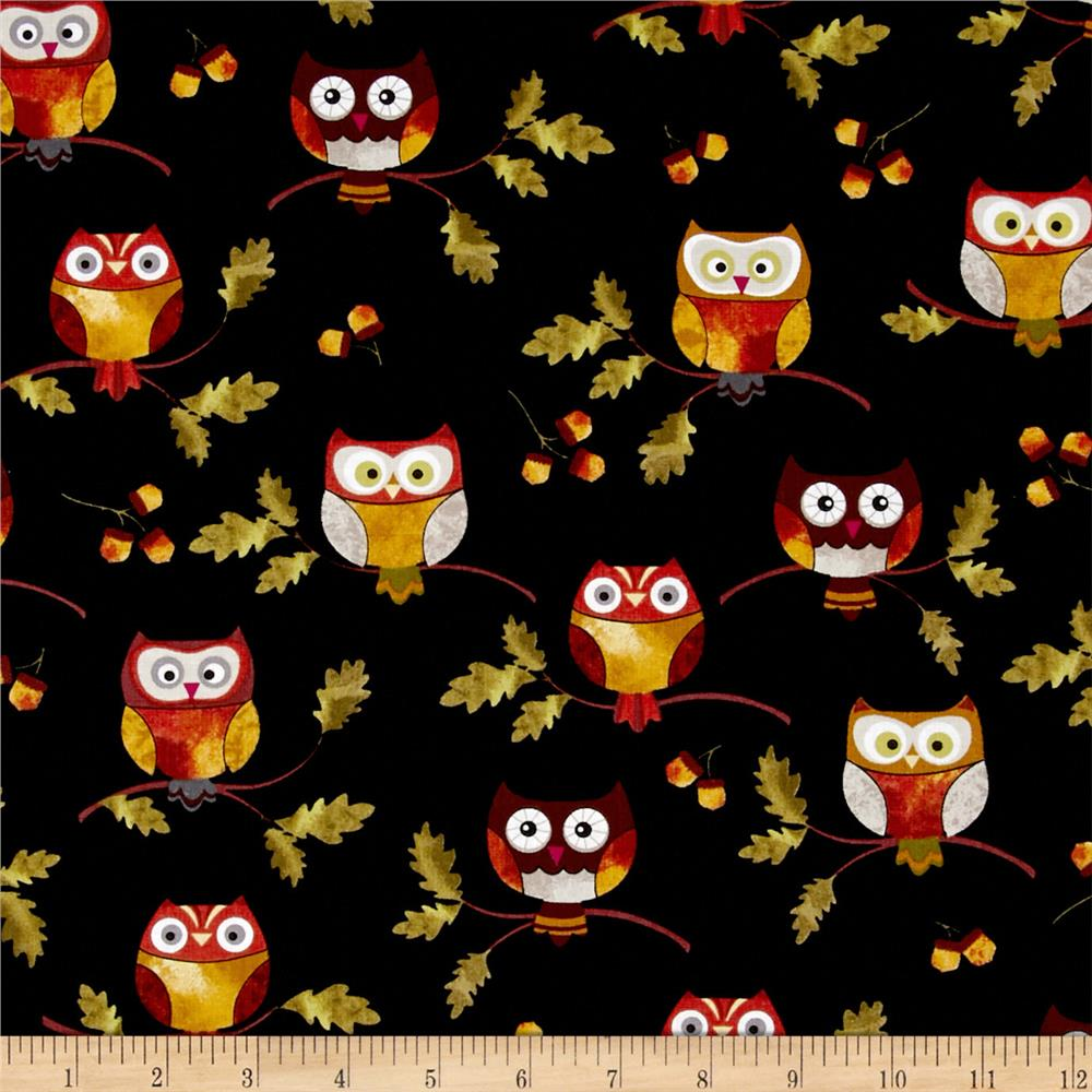 Leaf Into Autumn Owls Black