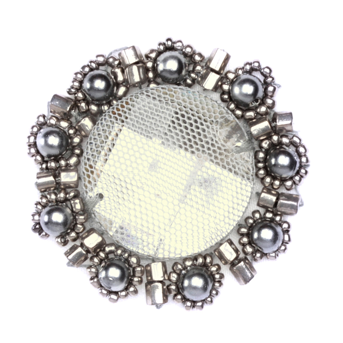 Floral Bead Pearl Medallion Applique Grey