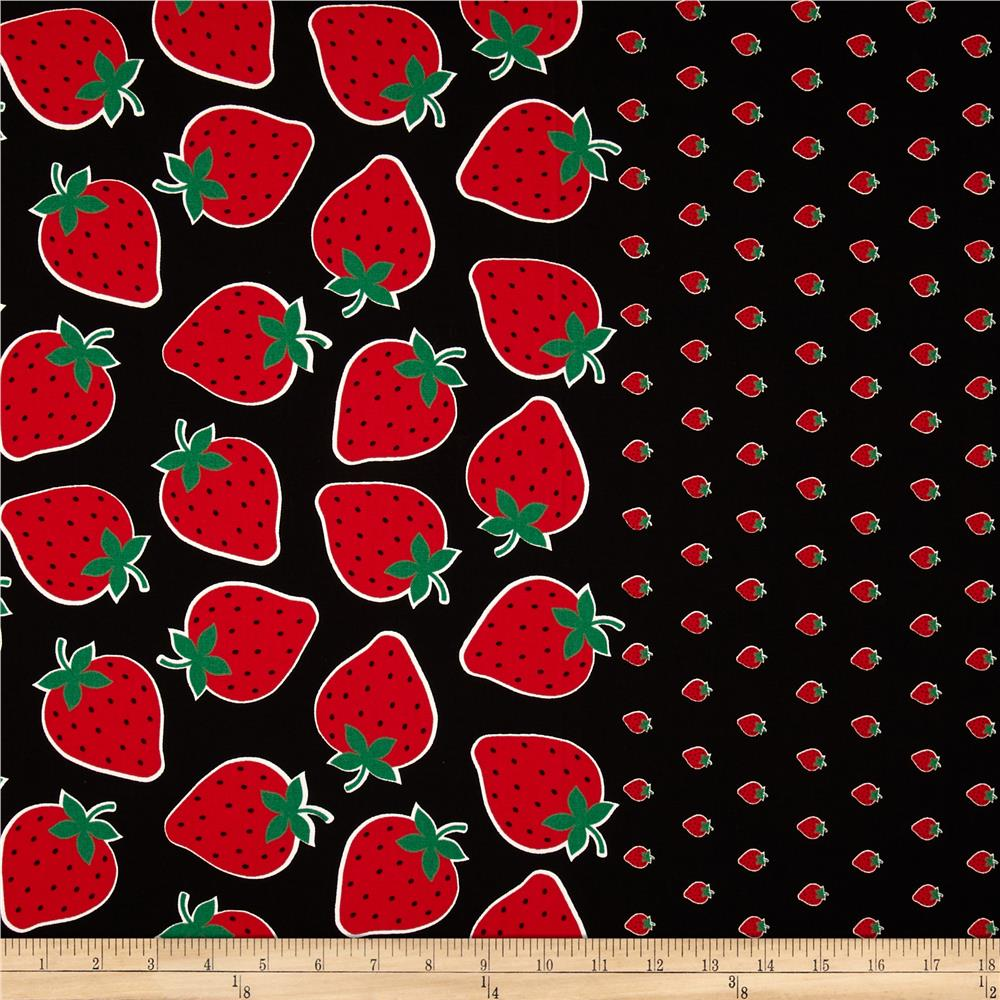 Seven islands strawberry border print black discount for Fabric material for sale