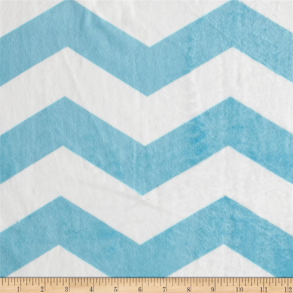 Minky Chevron  Light Blue/White