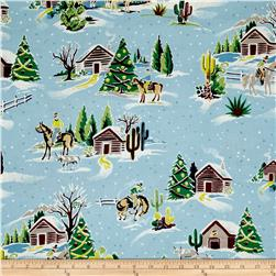 Alexander Henry Christmas Time Western Winter Lt. Blue