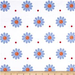 Minky Sunshine Daisies White/Blue