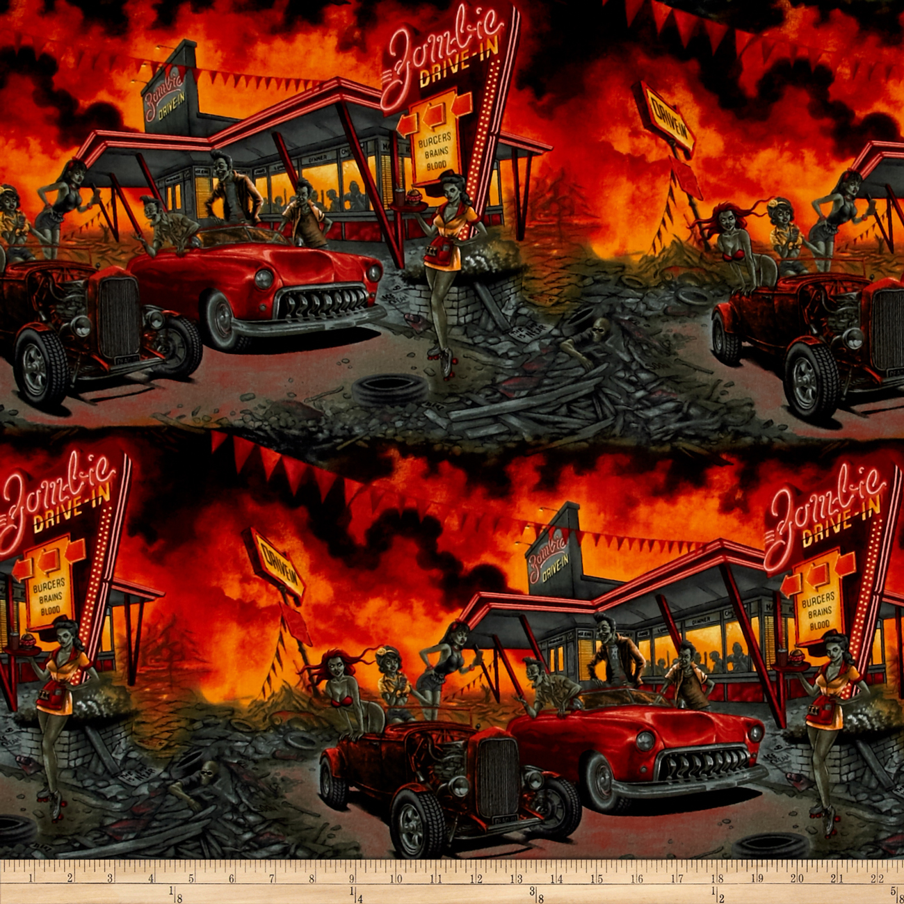 Alexander Henry Nicole's Prints Zombie Drive-In Apocalypse Fabric by Alexander Henry in USA