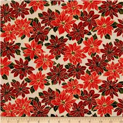 Moda Holly Night Metallic Poinsettias Cream