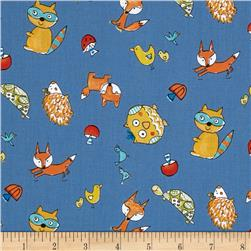 Fox Playground Animal Toss Blue Fabric