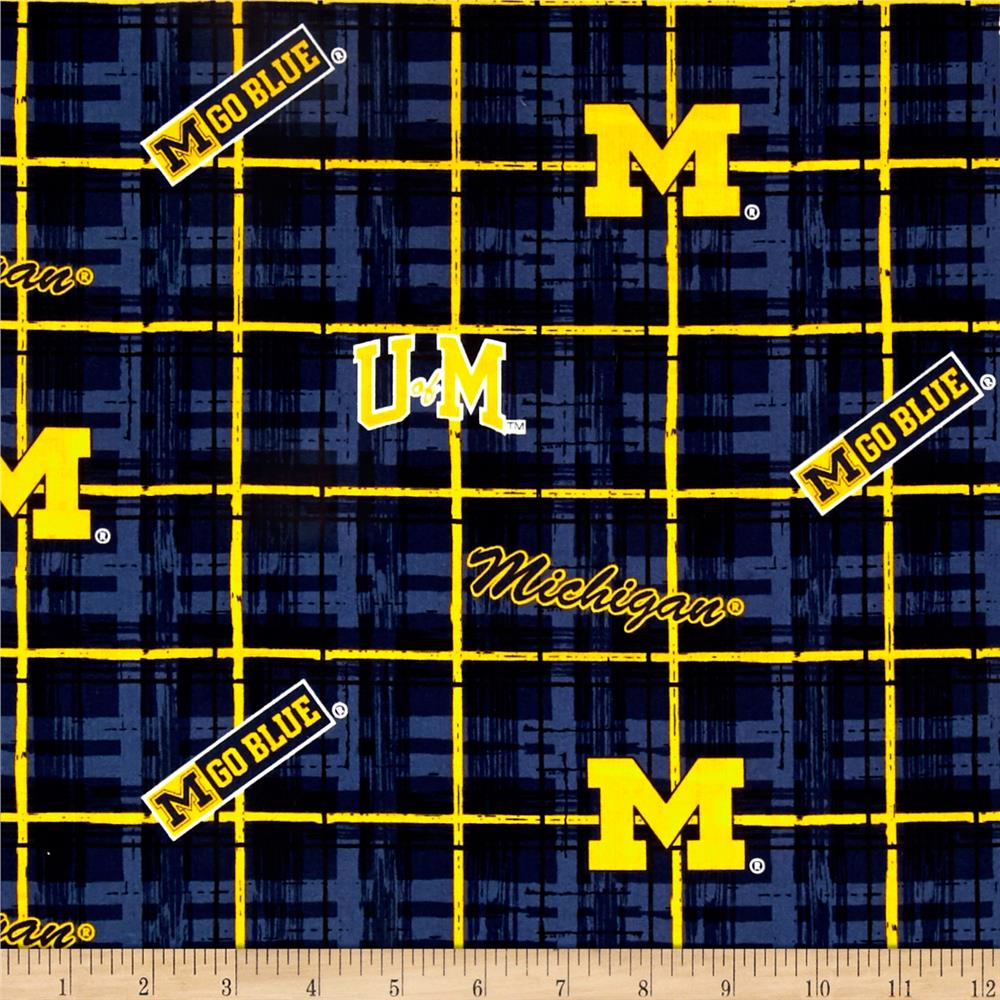 Collegiate Cotton Broadcloth University of Michigan Plaid