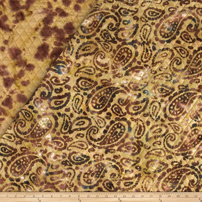 Indian Batik Double Face Quilted Paisley Natural