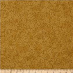 "110"" Wide Flannel Scroll Mustard"