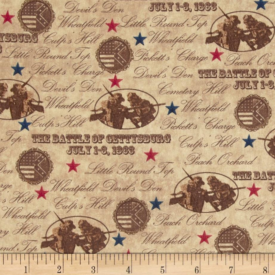 Gettysburg Battle Names Light Brown Discount Designer