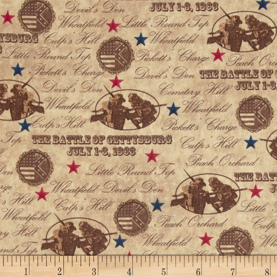 Gettysburg Battle Names Light Brown Fabric