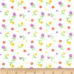 French Terry Knit Tossed Flowers White/Multi