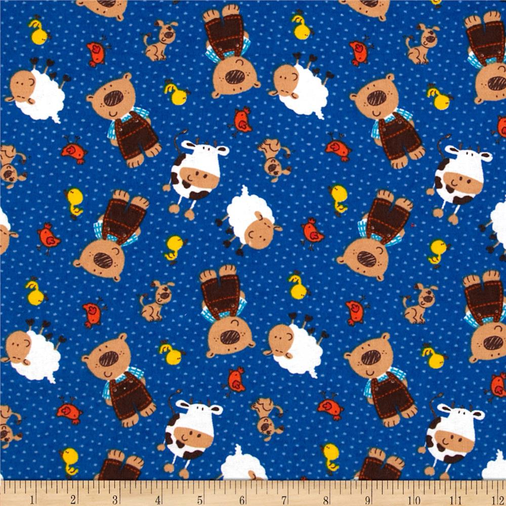 Camelot Flannel Tossed Bears & Friends Blue