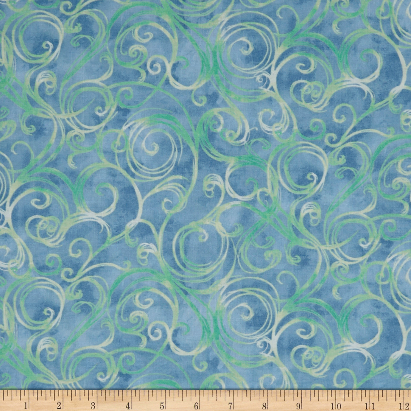 QT Fabrics Jacqueline Scroll Chambray