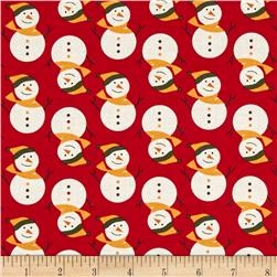 Fabric Freedom Christmas Character Smiley Snowmen Red