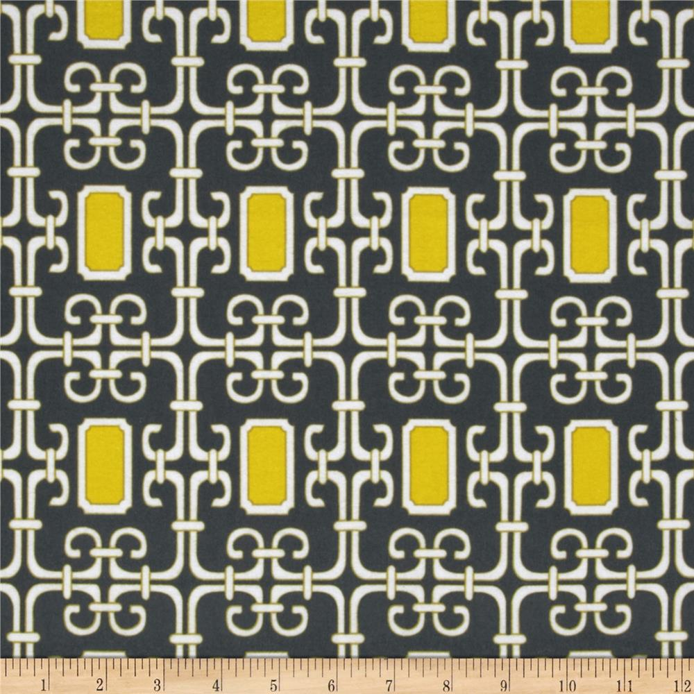 Michael Miller Pastel Pop Citron Gray Flannel Lauren