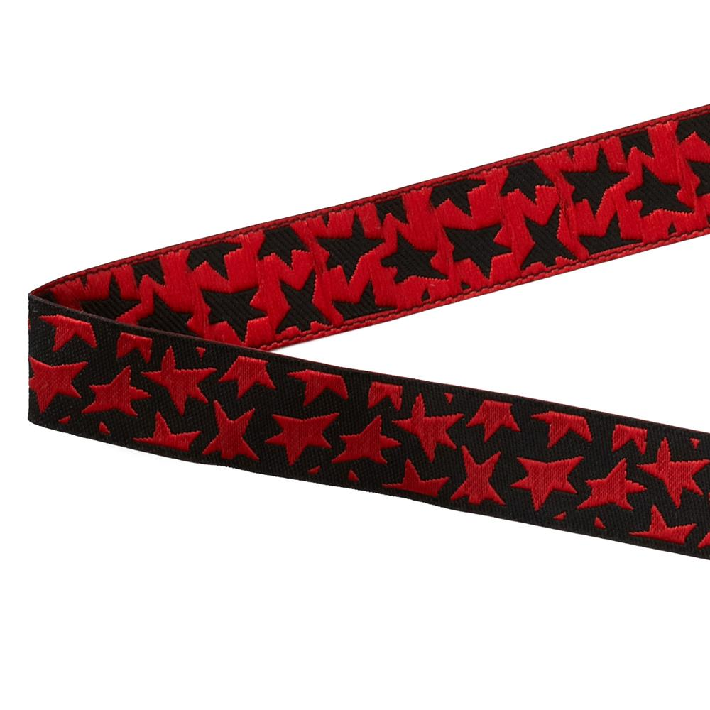 "5/8"" Luella Doss Red Stars On Black Ribbon"