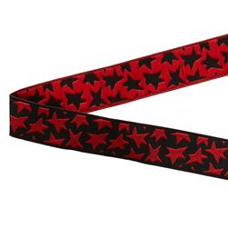 5/8'' Luella Doss Red Stars On Black Ribbon