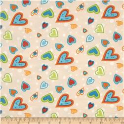 Owl Wonderful Flannel Hearts Allover Cream