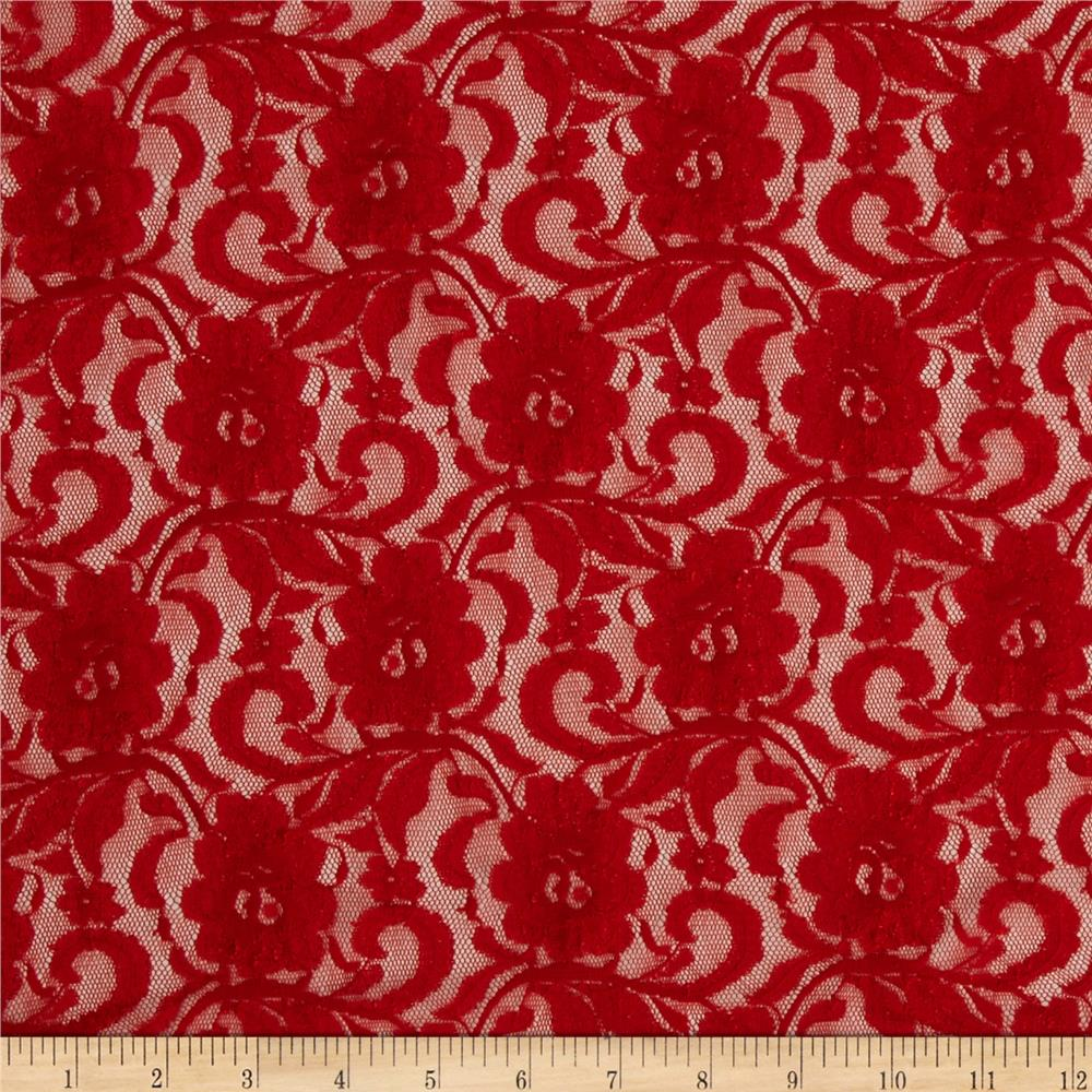 Stretch Floral Lace Cherry