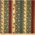 Berries and Blooms Metallic Border Stripe Cream/Gold