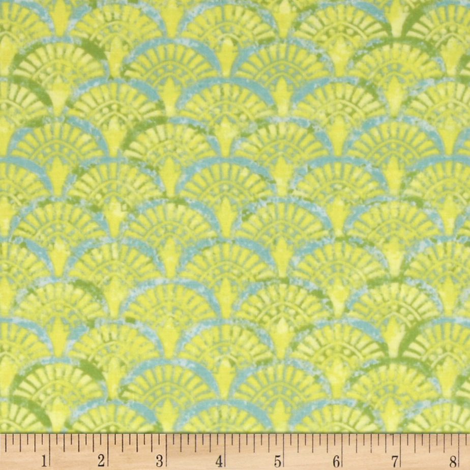 Serenity Garden Fans Teal/Yellow Fabric