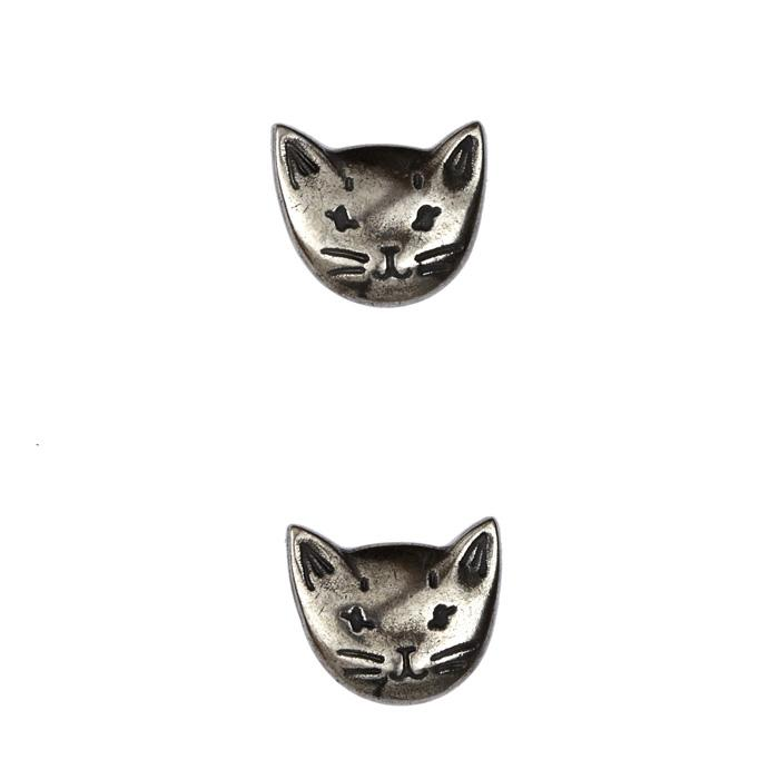 Metal Button 5/8'' Bello Gato Silver