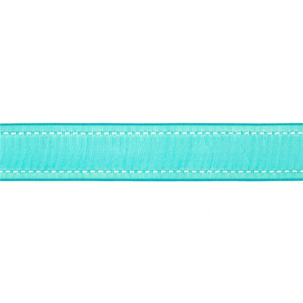 "7/8""  Sheer Stitched Edge Ribbon Turquoise"