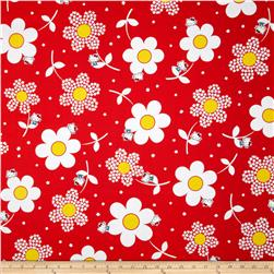 Hello Kitty Giant Daisies Red Fabric
