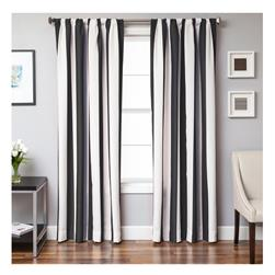 Sunbrella 84'' Grommet Stripe Outdoor Panel Natural/Black
