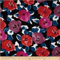 Rayon Challis Floral Black/Purple
