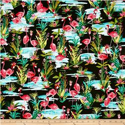 Flamingos By The Pond Dark Green