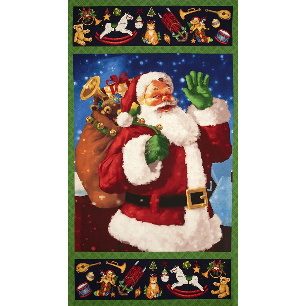 Santa's Surprise 24 In. Santa Panel Green/Multi