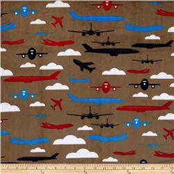 Kaufman Minky Cuddle Boys Toys Aviator Cappuccino Fabric