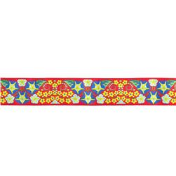 "1 1/2"" Jane Sassaman Red With Blue Morning Glory Ribbon"