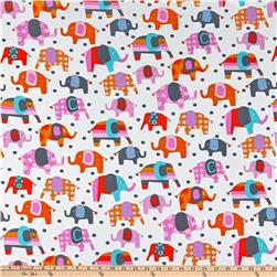 Cotton Jersey Knit Elephants Multi