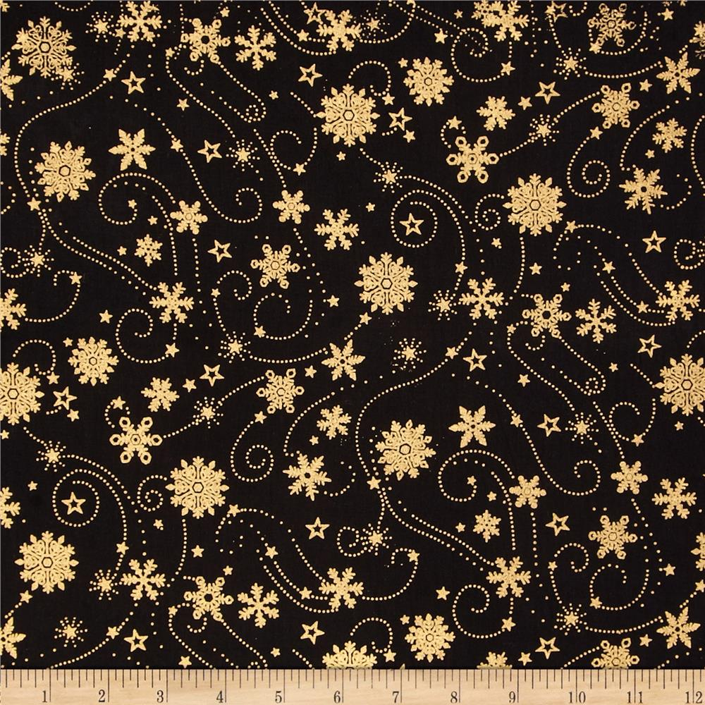 Island Batik Holiday Snowflake Swirl Metallic Black
