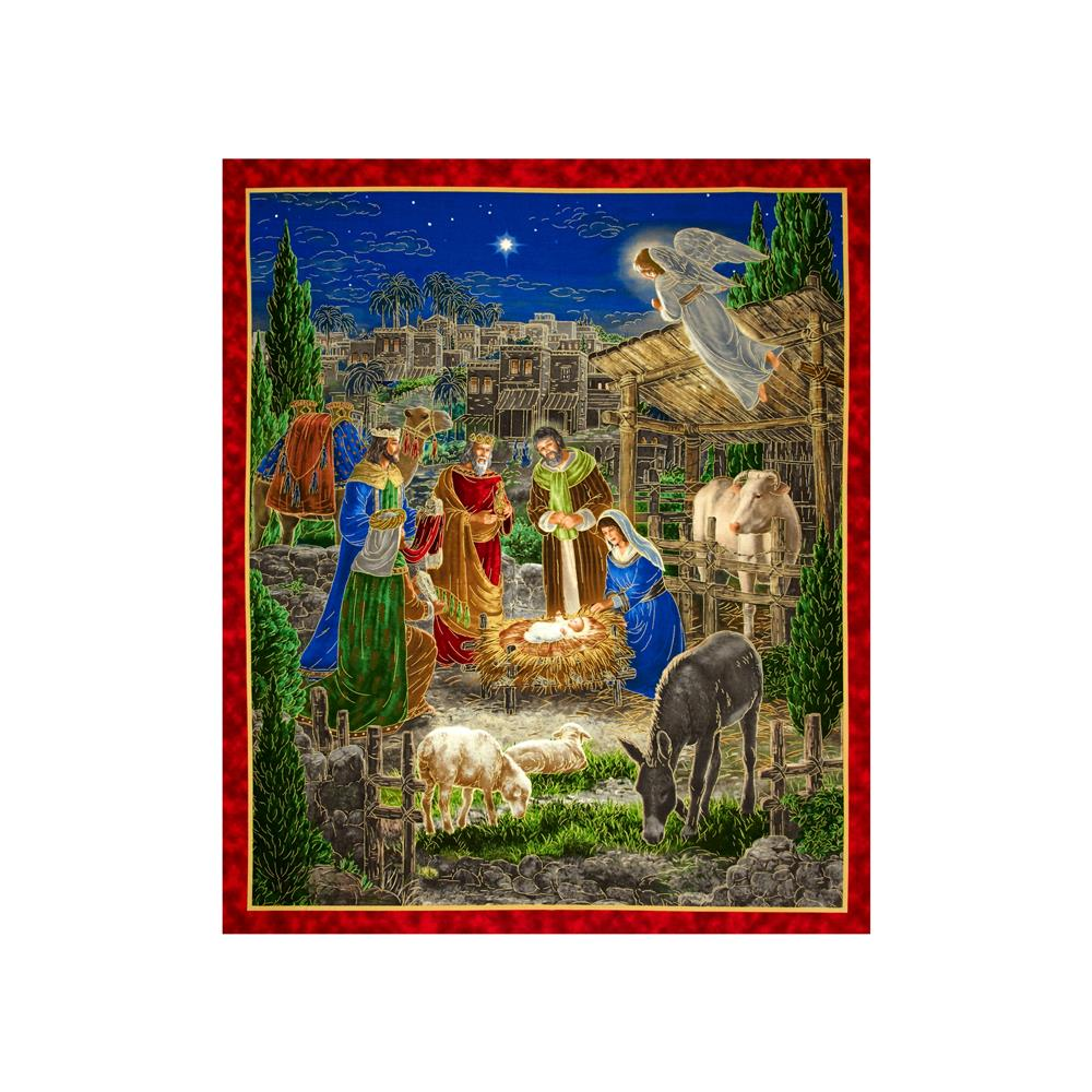 Holy Gathering Metallic Nativity 35 In. Panel Multi