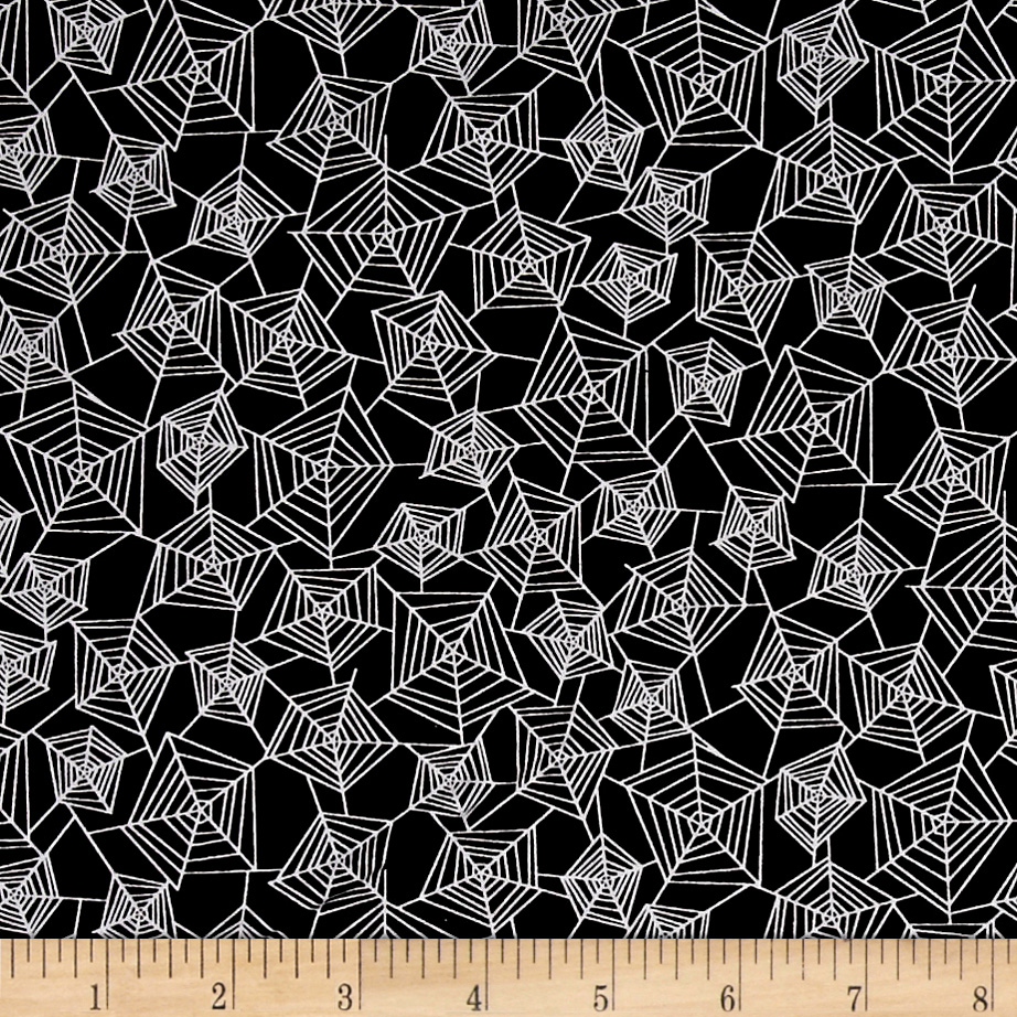 Image of Eat Drink & Be Scary Spider Webs Black Fabric