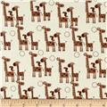 Riley Blake Giraffe Crossing 2 Flannel Giraffes Brown