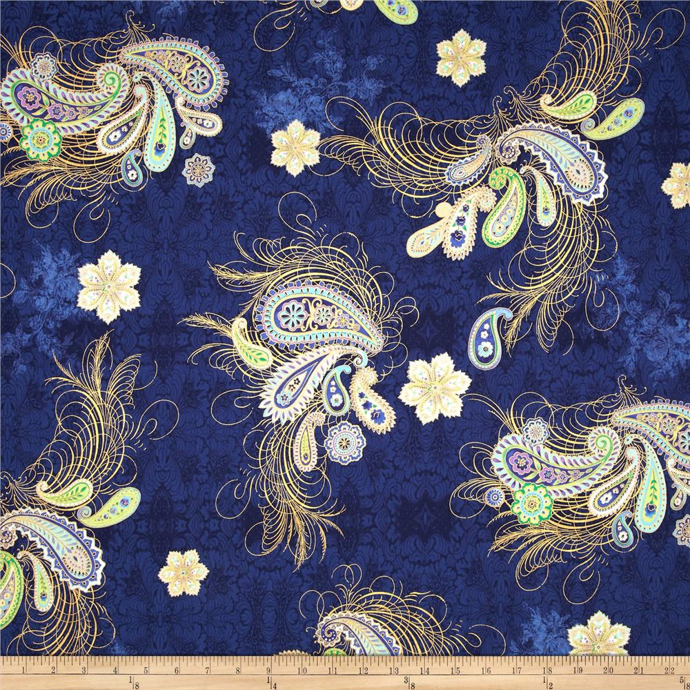 Paisley Peacock Metallic Paisley Feather Royal/Gold