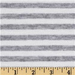 Tri Blend Yarn Dyed Jersey Knit Stripes Grey/White