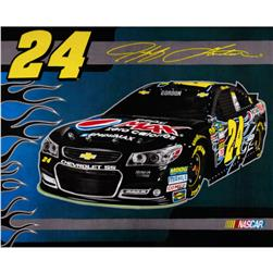 Jeff Gordon Nascar Fleece Panel Blue/Charcoal Grey Fabric