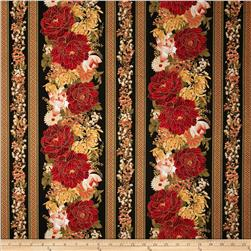 Timeless Treasures Imperial Garden Metallic Border Stripe Black